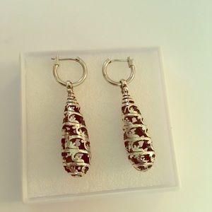 Jewelry - Long Silver drops on silver hoops
